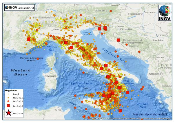 Terremoti in Italia: media di 66 eventi al giorno nel 2014