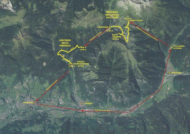 La pianta con il tracciato escursione ed i trasporti previsti