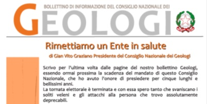 Bollettino Geologi luglio/novembre 2015