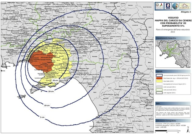 Vesuvio, zona gialla: pubblicate le disposizioni per l'aggiornamento della pianificazione di emergenza