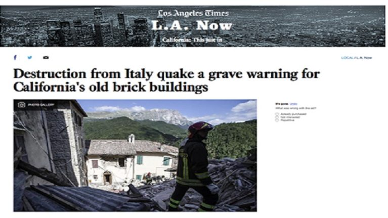 "Il terremoto visto da Los Angeles ""a grave warning for California's old brick buildings"""