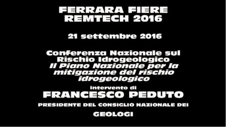 """""""Conferenza Nazionale sul Rischio Idrogeologico – Il Piano Nazionale per la mitigazione del rischio idrogeologico"""""""