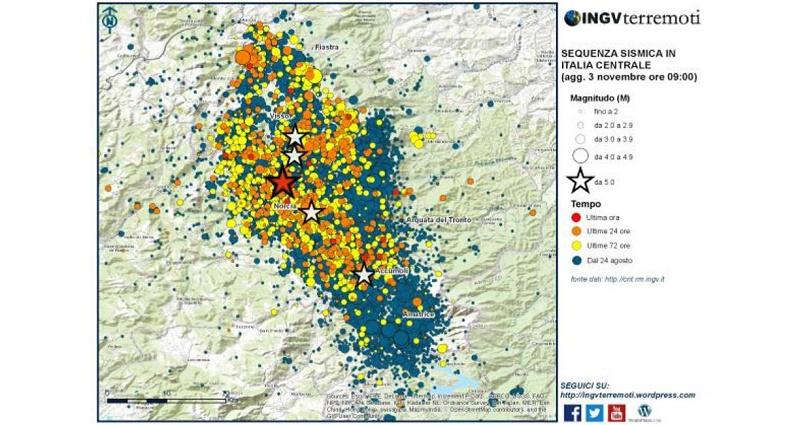 Sequenza sismica in Italia centrale: aggiornamento, 3 novembre ore 9.00