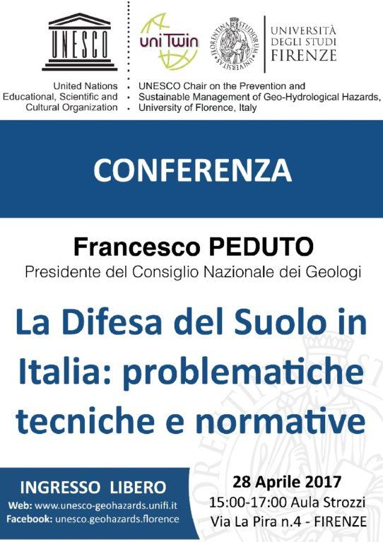 """Conferenza """"La Difesa del Suolo in Italia: problematiche tecniche e normative"""" @ Firenze"""
