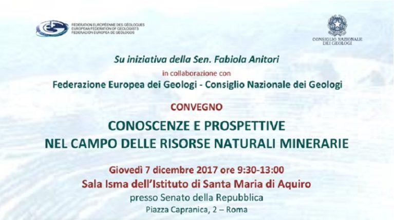 CONOSCENZE E PROSPETTIVE NEL CAMPO DELLE RISORSE NATURALI MINERARIE