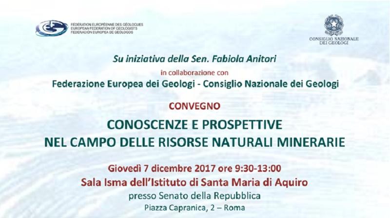 """Convegno FEG-CNG """"Conoscenze e Prospettive nel campo delle risorse naturali minerarie"""" – Senato della Repubblica"""
