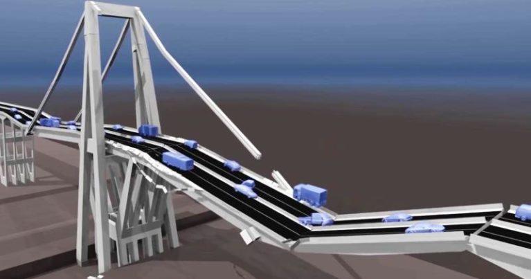 Ponte Morandi: la simulazione in 3d del crollo