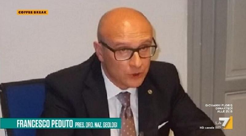 """Francesco Peduto, Presidente del Consiglio Nazionale Geologi a La7 """"Coffee break"""": dissesto idrogeologico"""