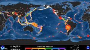 Terremoti: spettacolare animazione mostra le scosse più intense del 2014 [VIDEO]