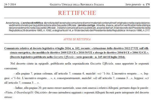 D.Lgs. 102/2014, pubblicati in Gazzetta gli 8 Allegati mancanti