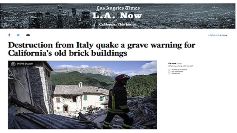 """Il terremoto visto da Los Angeles """"a grave warning for California's old brick buildings"""""""