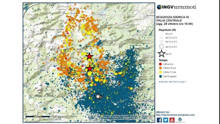 Sequenza sismica in Italia centrale: aggiornamento del 28 ottobre 2016, ore 10.00