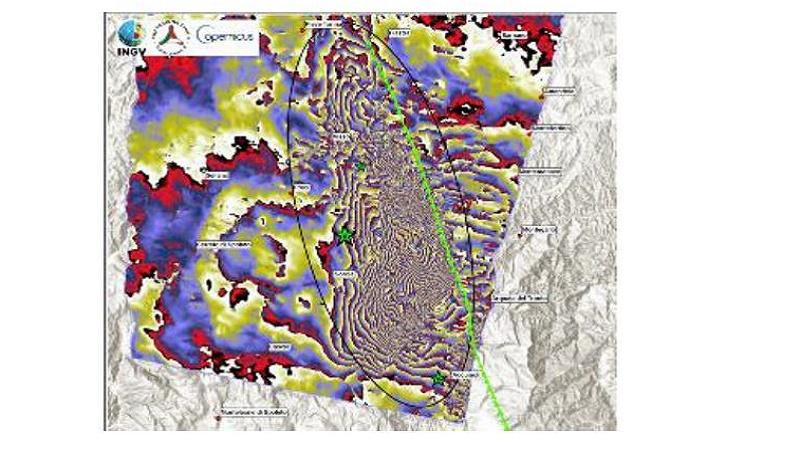 Interferogramma differenziale ottenuto da dati radar del satellite europeo Sentinel-1