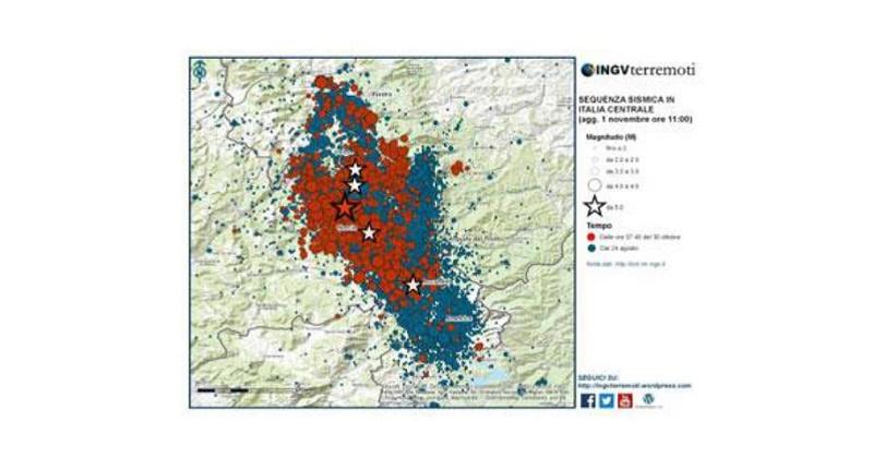 Sequenza sismica in Italia centrale: aggiornamento, 1 novembre ore 11.00