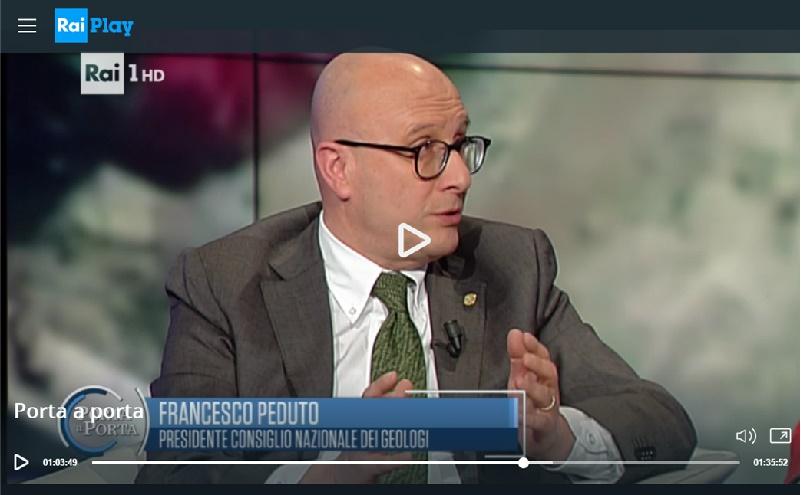 Terremoto Centro Italia: il Presidente CNG Peduto ospite a Porta a Porta