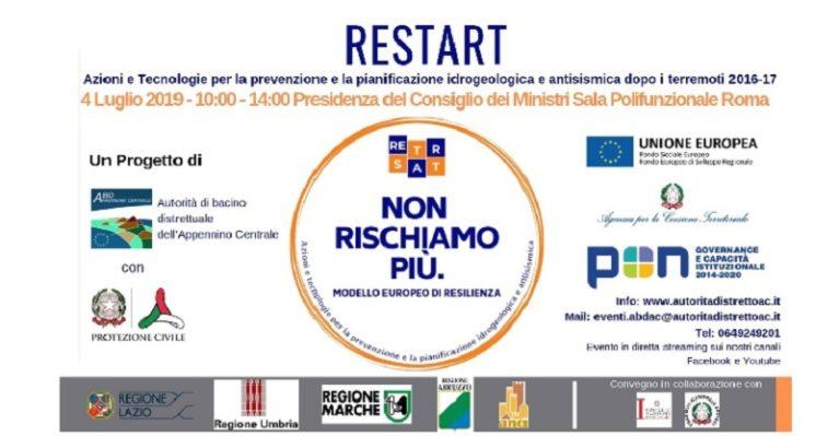 """Convegno  """"ReStart – Azioni e tecnologie per la prevenzione e la pianificazione idrogeologica e antisismica dopo i terremoti 2016-17"""""""